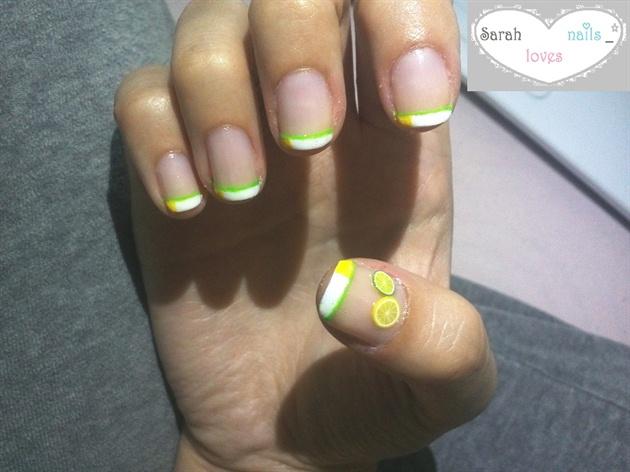 white/yellow french , green line , lemon
