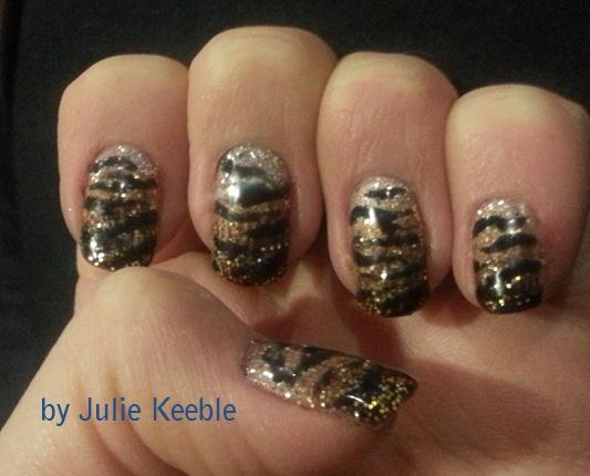 Gel Polish Glitter Tiger Art