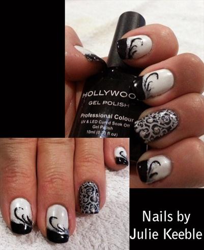 Black and white gel polish