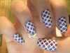 Purple and White Checkered Nails w/Bow