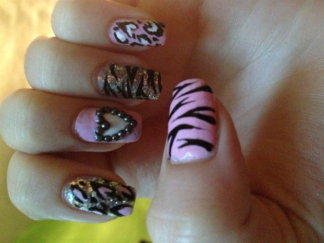 Girly Animal Print Nails