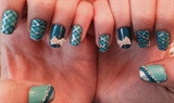 Tiffany blue glitzy plaid nails