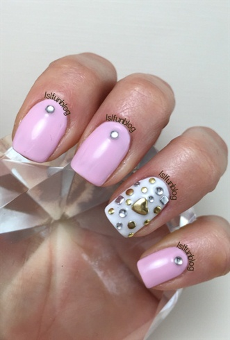 Valentine S Day Pink And Studs Nail Art Gallery