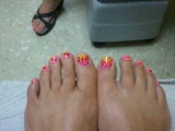 rainbow cheeta toes