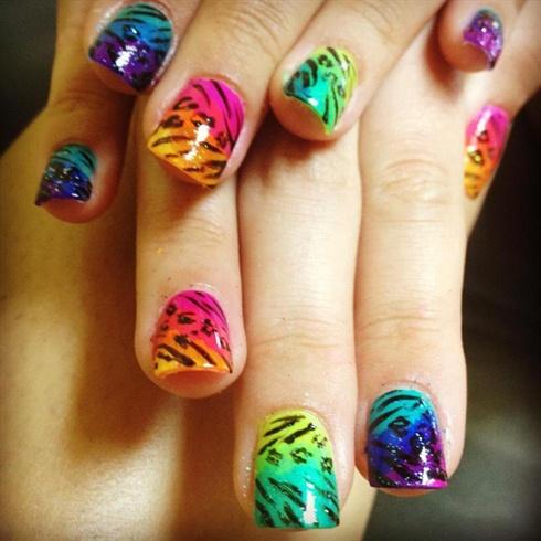 Electric rainbow animal prints