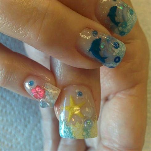 Acrylic vacation nails.