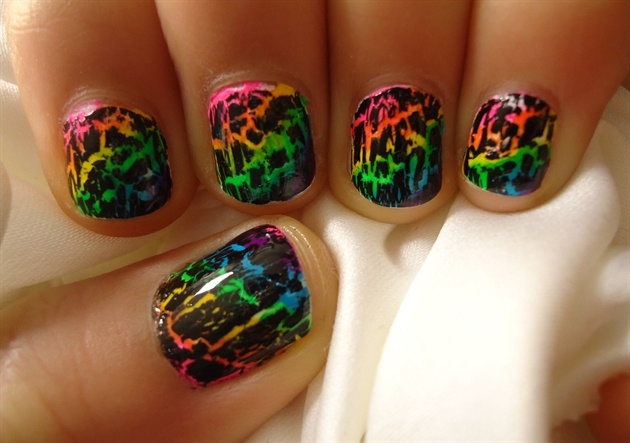 Rainbow Crackle Nail Design Nail Art Gallery