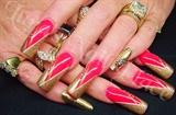 Gold Chevron nail art