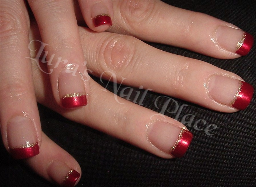 Free sculpted acrylic red french tip - Nail Art Gallery
