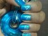 aqua blue prom nails