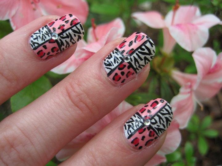 Girly Squared Animal Print Nail Art - Nail Art Gallery