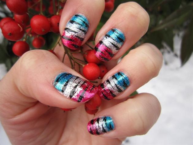 Multi Glitter Tiger Print Nail Art
