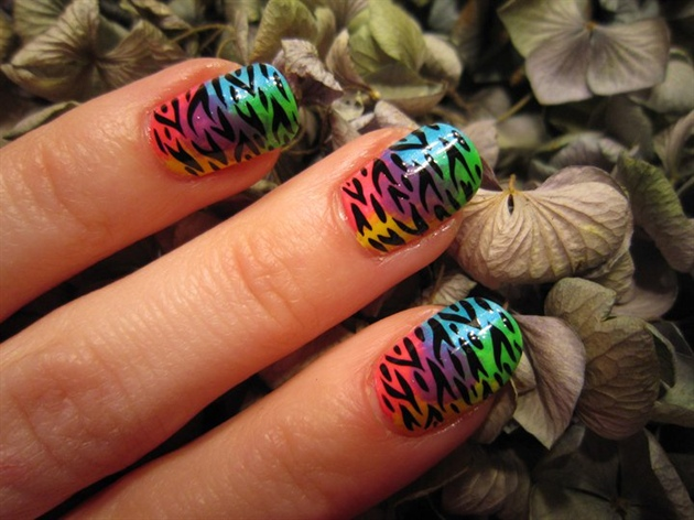 Rainbow Zebra Nail Art