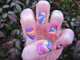 Groovy Spring Time Water Marble Nail Art