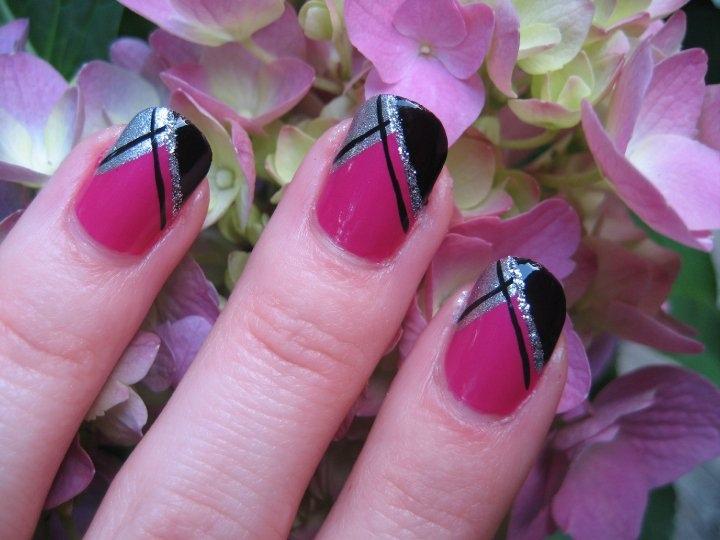 Pink And Black Nail Designs 2016