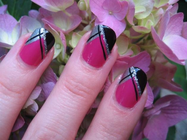 Pink and black abstract nail art nail art gallery pink and black abstract nail art prinsesfo Images