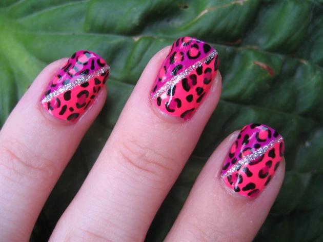 Diva Neon Leopard Nail Art