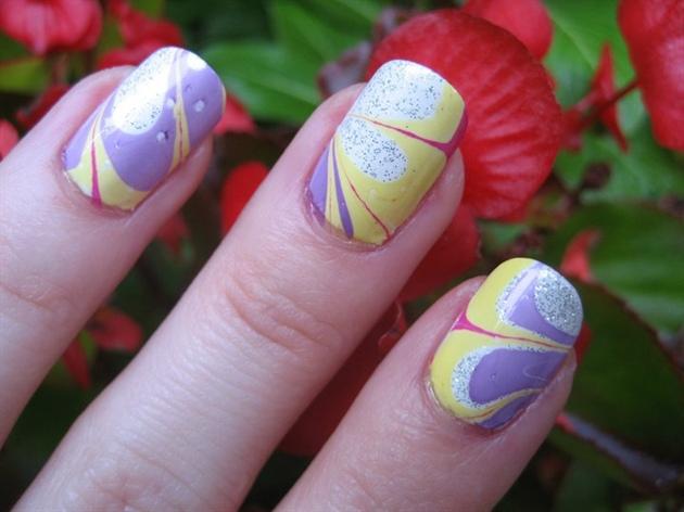 Pastel Water Marble Nail Art