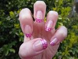 Pink Glitter Dot Nail Art