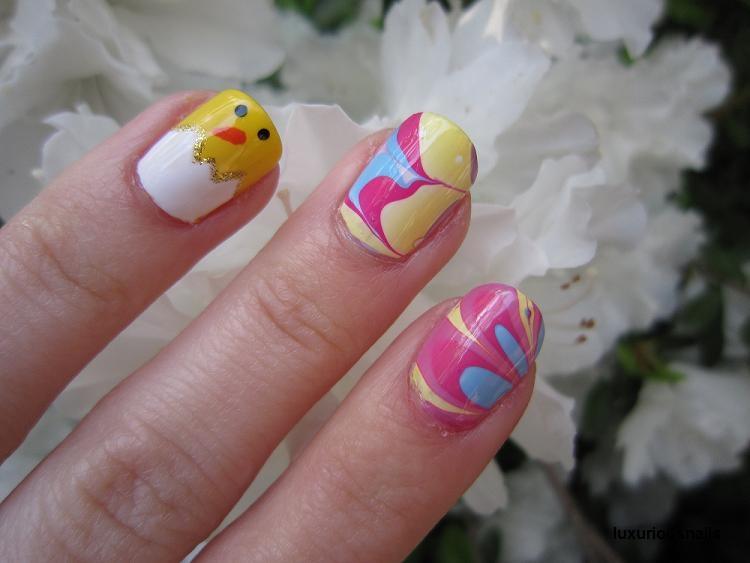Easter Chick Water Marbling Nail Art Nail Art Gallery