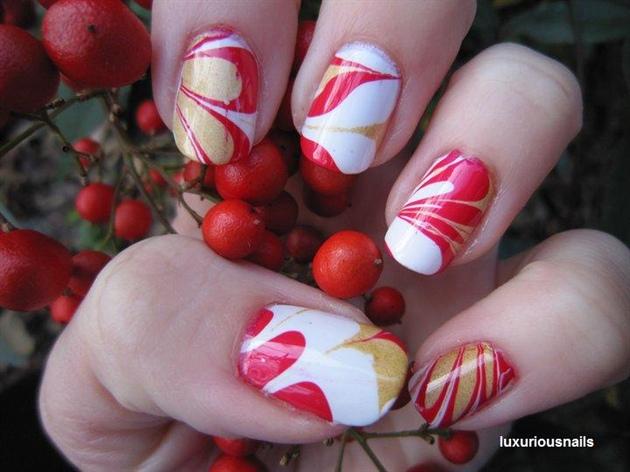 Christmas Carol Water Marble Nail Art Nail Art Gallery