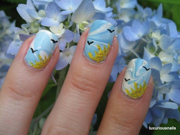 Daytime water marble nail art nail art gallery daytime water marble nail art prinsesfo Gallery