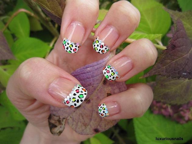 Rainbow Disco Leopard French Tip