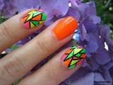 Neon Stained Glass Nail Art