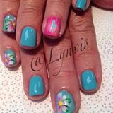 Pink & Aqua Flowers