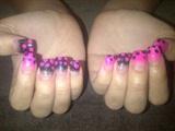 Neon P!nk Black Glitter Polka Dots
