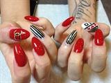 Fingernails in red