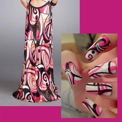 Рисунок платье на ногтях