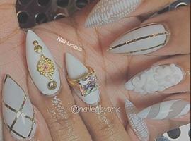 All White Stiletto Nails