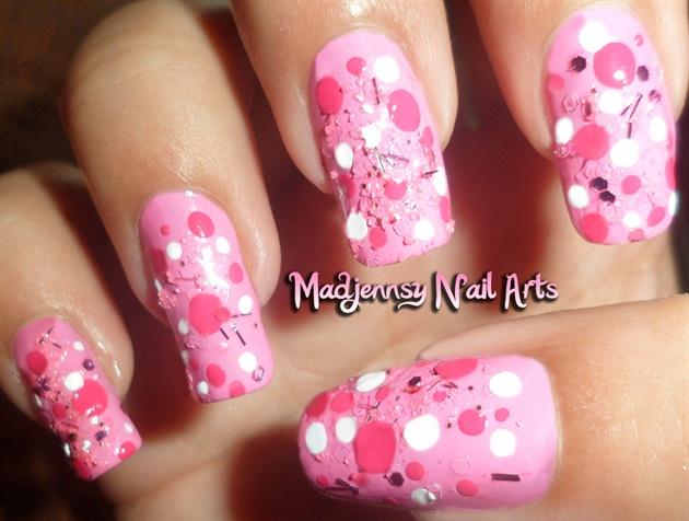Cutie Pink Polka Dots Nail Art