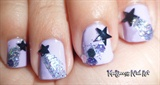 Glittery Shooting Stars Nail Art