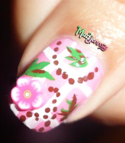 cute pink fimo floral baby nail art  nail art gallery