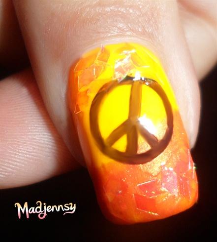 Bright Orange Peace Nails!
