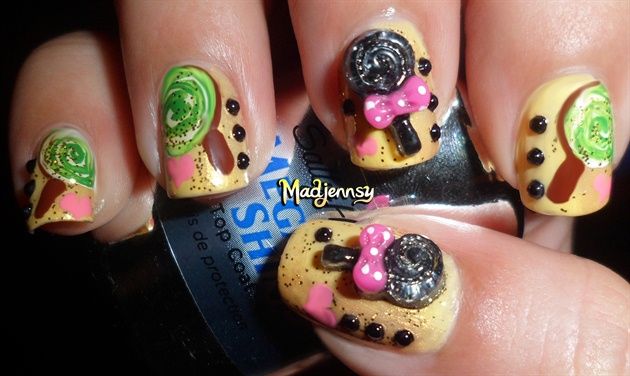 Sweet 3D Lollipops Nail Art