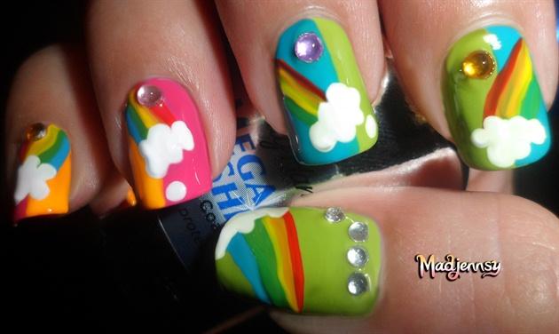 Summery Rainbow on Clouds Nail Art