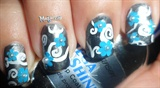 Simple Swirls ~ Blue Floral Nail Art