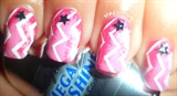 Ombre Pink Zig Zag Chevron Nail Art