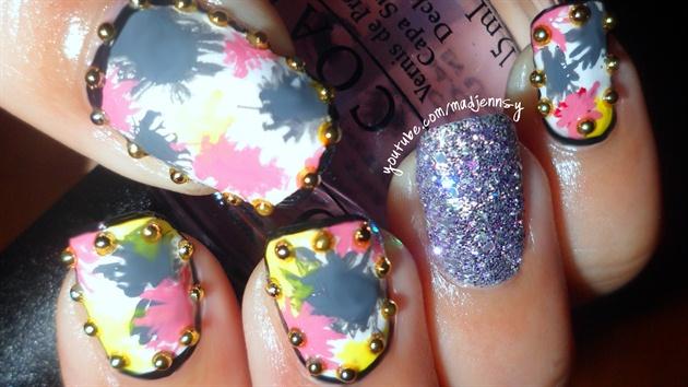 Splatter Border Nail Art