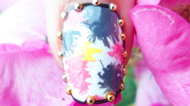 Easy Splatter Border Nail Art