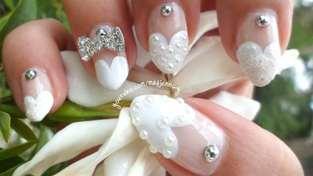 Heart French Manicure ❤ Wedding Stiletto