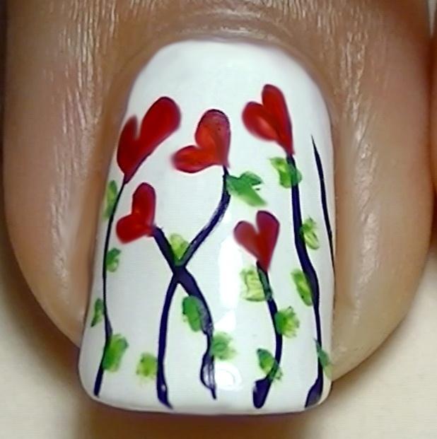 Love, Hearts, Romantic Floral Nail Art