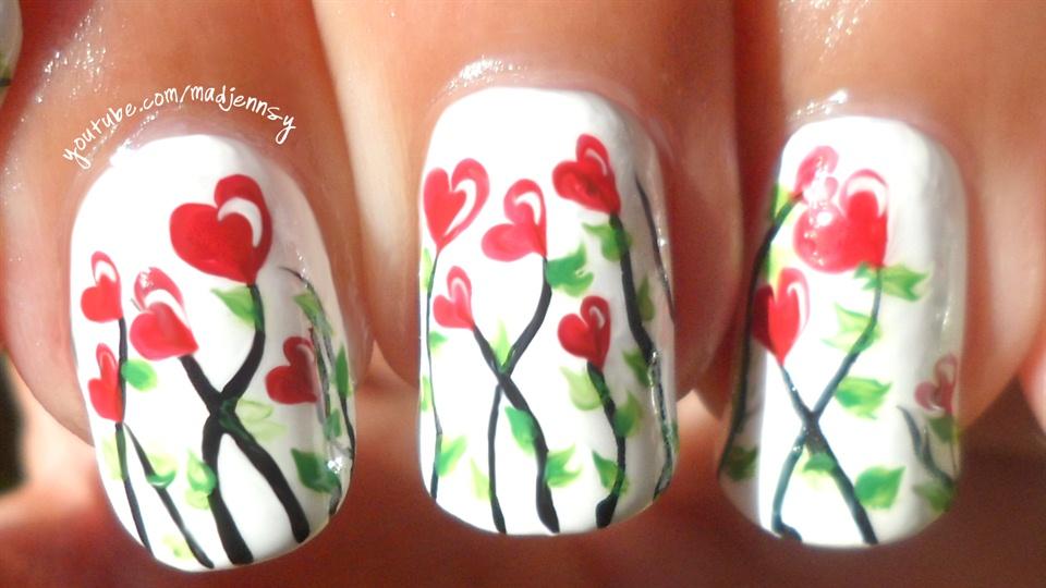 Love, Hearts, Romantic Floral Nail Art ❤ - Nail Art Gallery Step-by ...