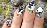 Dramatic Cartoon Roses Stiletto Nail Art