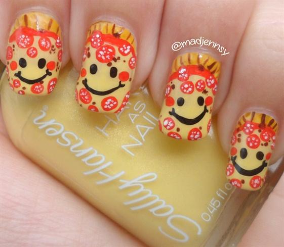 Smiley Pepperoni Pizza Nail Art