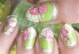 Green & Gold Vintage Roses Stiletto Nail