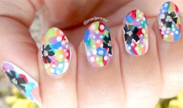 Pop Colorful Nail Art (Matte vs Glossy)